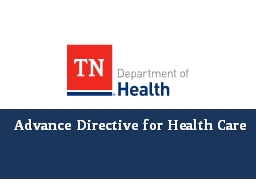 Advance  Directive for Health Care