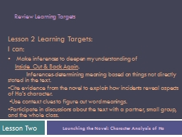 Lesson 2 Learning Targets: