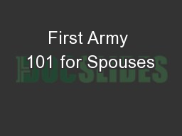 First Army 101 for Spouses