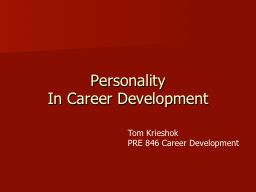Personality In Career Development