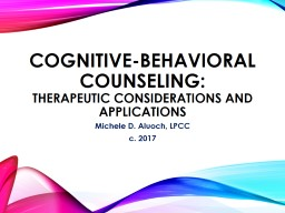 Cognitive-Behavioral Counseling: