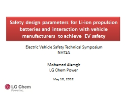 Safety design parameters for Li-ion propulsion batteries and interaction with vehicle manufacturers