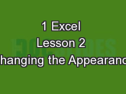 1 Excel Lesson 2 Changing the Appearance