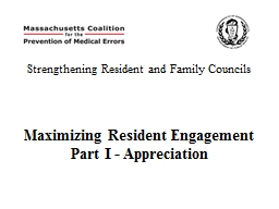 Strengthening Resident and Family Councils PowerPoint PPT Presentation