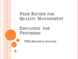 Peer Review for Quality Management