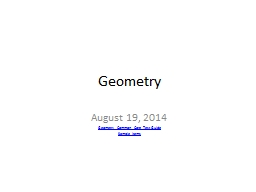Geometry August 19, 2014 PowerPoint PPT Presentation