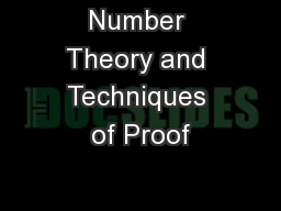 Number Theory and Techniques of Proof