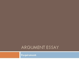 Argument Essay Requirements