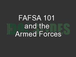 FAFSA 101 and the Armed Forces
