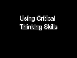 Using Critical Thinking Skills