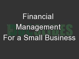 Financial Management For a Small Business