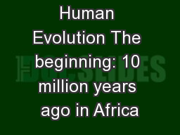 Human Evolution The beginning: 10 million years ago in Africa PowerPoint PPT Presentation