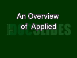 An Overview of  Applied