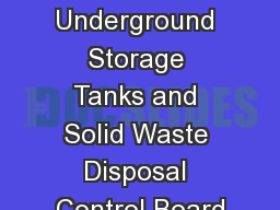 EWS Update Underground Storage Tanks and Solid Waste Disposal Control Board