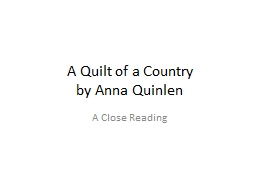 A Quilt of a Country by Anna