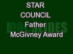 STAR COUNCIL Father McGivney Award