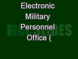 Electronic Military Personnel Office (