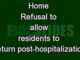 Nursing Home Refusal to allow residents to return post-hospitalization