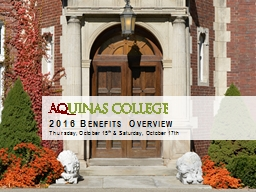 2016 Benefits  Overview Thursday, October 15