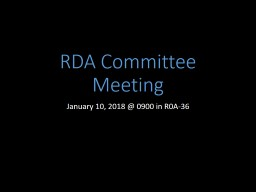 RDA Committee Meeting May 9, PowerPoint PPT Presentation