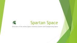 Spartan Space Overview of the online Space Inventory System and Categorizing Space