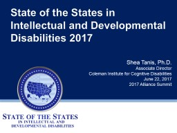 State of the States in Intellectual and Developmental Disabilities 2017