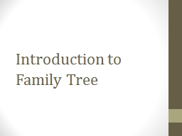 Introduction to Family Tree