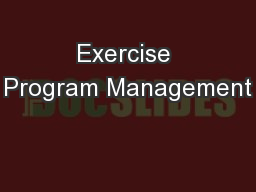 Exercise Program Management