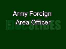 Army Foreign Area Officer