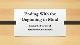 Ending With the Beginning in Mind