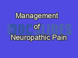 Management  of  Neuropathic Pain