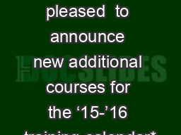 CalHR  is pleased  to announce new additional courses for the '15-'16 training calendar*