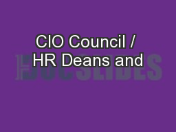 CIO Council / HR Deans and