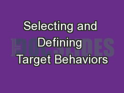 Selecting and Defining Target Behaviors