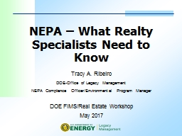 NEPA – What Realty Specialists Need to Know PowerPoint PPT Presentation