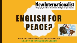 English  for Peace? New Internationalist Easier English
