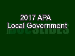 2017 APA  Local Government PowerPoint PPT Presentation
