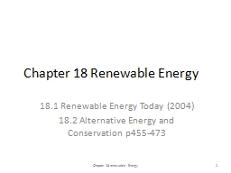 Chapter 18 Renewable Energy PowerPoint PPT Presentation