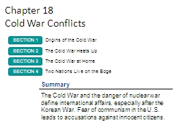Chapter 18 Cold War Conflicts PowerPoint PPT Presentation