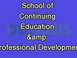 School of Continuing Education & Professional Development