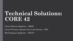 Technical Solutions: CORE 42