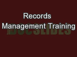 Records Management Training
