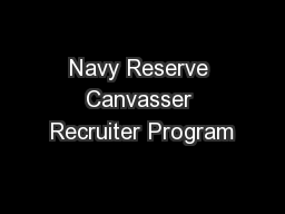 Navy Reserve Canvasser Recruiter Program