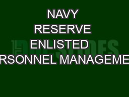 NAVY RESERVE ENLISTED   PERSONNEL MANAGEMENT