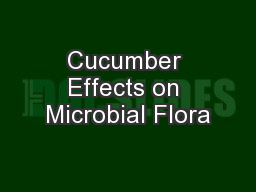 Cucumber Effects on Microbial Flora