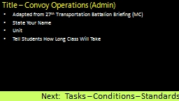 Title � Convoy Operations (Admin)