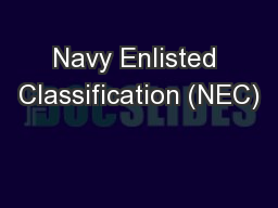 Navy Enlisted Classification (NEC)