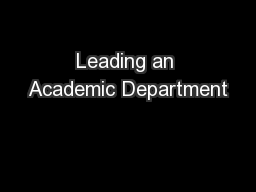 Leading an Academic Department