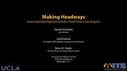 Making Headways Smart Card Fare Payment and Bus Dwell Time in Los Angeles