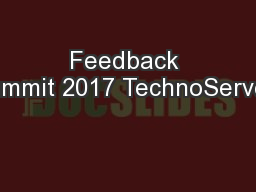 Feedback Summit 2017 TechnoServe's